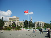 Main entrance gate of Istanbul University on Beyazıt Square, which was known as Forum Tauri in the Roman period. Beyazıt Tower, located within the campus, is seen in the background.