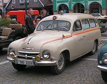 fotografie sanitního vozu Škoda 1201.