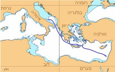 אוניית המעפילים דלין - מסלול