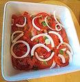 -2017-03-08 Tomato, basil and onion salad, Trimingham.JPG