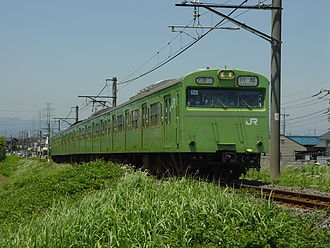 103 series - Four-car Kawagoe Line 103-3500 series set 56 in June 2004