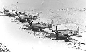 133d Operations Group - 109th Fighter Squadron F-51 Mustangs parked in the snow