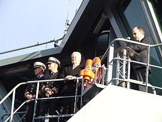 Icelandic Coast Guard - From left to right: Captain of Thor Cdr. s.g. Sigurður Steinar Ketilsson, Director of the Icelandic Coast Guard R.Adm. Georg Kr. Lárusson, President of Iceland Mr. Ólafur Ragnar Grímsson, and former Minister of the Interior Ögmundur Jónasson.