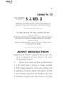 116th United States Congress S.J.Res. 002 (1st session) - A joint resolution disapproving the President's proposal to take an action relating to the application of certain sanctions with B - Placed on Calendar Senate.pdf
