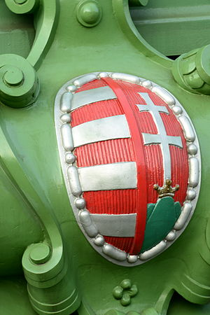 Coat of arms of Hungary - Coat of Arms at Liberty Bridge in Budapest