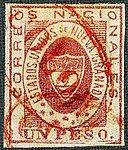 1861 1Peso EU de Nueva Granada oval red COLON Sc18.jpg