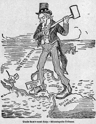 Richard Mohun - A contemporary cartoon depicting the US-funded Nicaragua canal