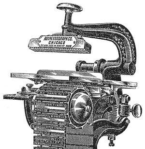 Addressograph - Illustration of 1896 Addressograph with movable belt of rubber plates