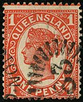 1897 1d orange-vermilion Queensland rays 63 Yv78.jpg