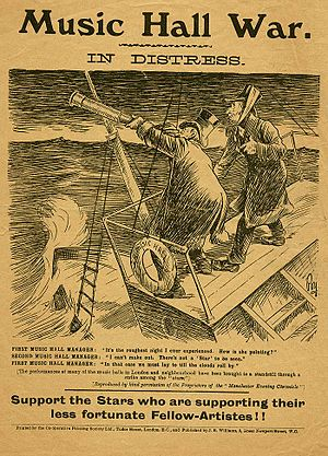 Music Hall Strike of 1907 - A 1907 propaganda poster, used to gain support in favour of performers