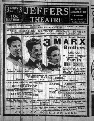 Marx Brothers - 1911 newspaper advertisement for a Marx Brothers appearance (l–r: Harpo, Groucho, Gummo)
