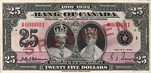 Commemorative banknotes of the Canadian dollar - Image: 1935 Series Bank of Canada $25 commemorative banknote, obverse
