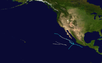 1952 Pacific hurricane season - Image: 1952 Pacific hurricane season summary map