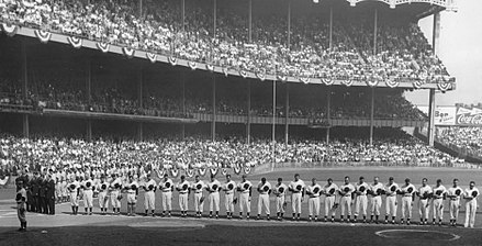 Game 1 of the 1955 World Series between the New York Yankees and Brooklyn Dodgers 1955 World Series game one.jpeg
