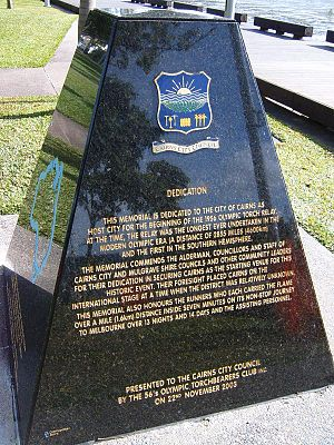 1956 Summer Olympics - Torch Relay monument, Cairns