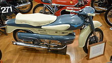 A blue and cream-colored motorcycle