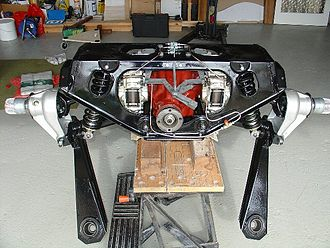 Subframe - Rear subframe and suspension of 1963 Jaguar E-Type.