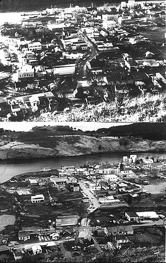 Kodiak, before and after the tsunami which followed the Good Friday earthquake in 1964, destroying much of the townsite 1964 Alaska Quake Kodiak Before and After.jpg