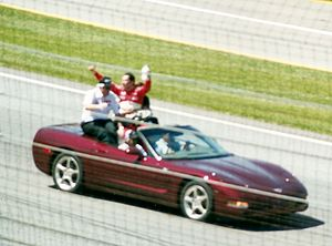 2002 Indianapolis 500 - Castroneves celebrates his victory.
