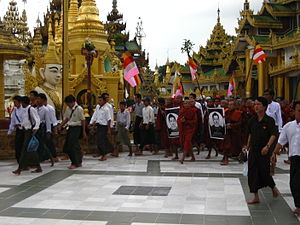 Saffron Revolution - Protesters at Shwedagon Pagoda in Yangon.