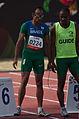 2013 IPC Athletics World Championships - 26072013 - Lucas Prado and guide Lorenzo Alves Martins of Brasil preparing for the Men's 100m - T11.jpg