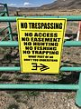 "2015-03-31 14 45 59 ""No Trespassing - No Access No Easement No Hunting No Fishing No Trapping What Part Of No Don't You Understand"" sign in rural Elko County, Nevada.JPG"