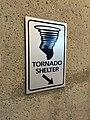 2016-07-31 19 49 53 Tornado Shelter sign at Terminal B at Kansas City International Airport in Kansas City, Platte County, Missouri.jpg