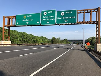 Tinton Falls, New Jersey - The Garden State Parkway's interchange with Route 18 and Route 36 in Tinton Falls