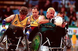 Sweden at the 2000 Summer Paralympics - Image: 261000 Wheelchair rugby George Hucks action 3b 2000 Sydney match photo