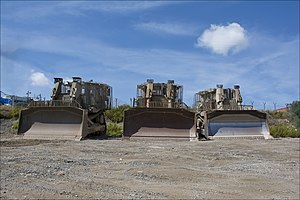 Israeli Combat Engineering Corps - IDF Caterpillar D9 armored bulldozers parking near a military outpost