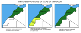 Different versions of maps of Morocco.