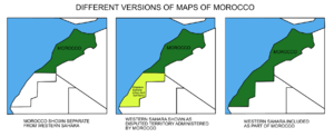 Different maps used to illustrate the area of Morocco