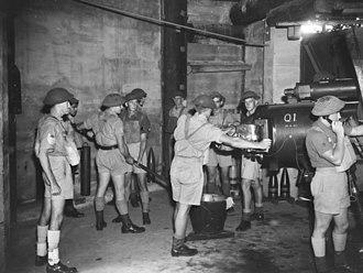Fort Cowan Cowan - Gunners manning a 6-inch Mk XI gun, November 1943