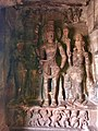 6th century Cave 1 Harihara (left half Shiva, right half Vishnu) with Parvati left, Lakshmi right, Badami Hindu cave temple Karnataka 2.jpg