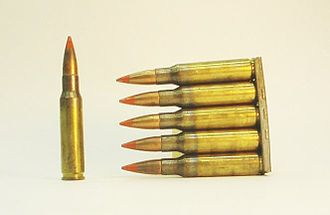 Tracer ammunition - 7.62×51mm NATO Orange-tipped FMJ tracer ammunition in a 5-round stripper clip