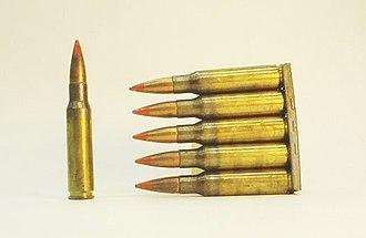 Tracer ammunition - 7.62×51mm NATO Orange-tipped FMJ tracer ammunition in a 5-round stripper clip