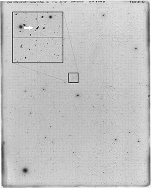 704 Interamnia - One of the first photographic plates of 704 Interamnia obtained by the Italian astronomer Vincenzo Cerulli from the Observatory of Teramo (Italy). The image was taken in Oct. 1910; the path of the asteroid is shown in the zoom.