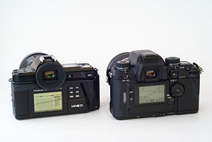 "Minolta Maxxum 7000 - Maxxum 7000 (with optional ""program back"") next to a Maxxum/Dynax 7"