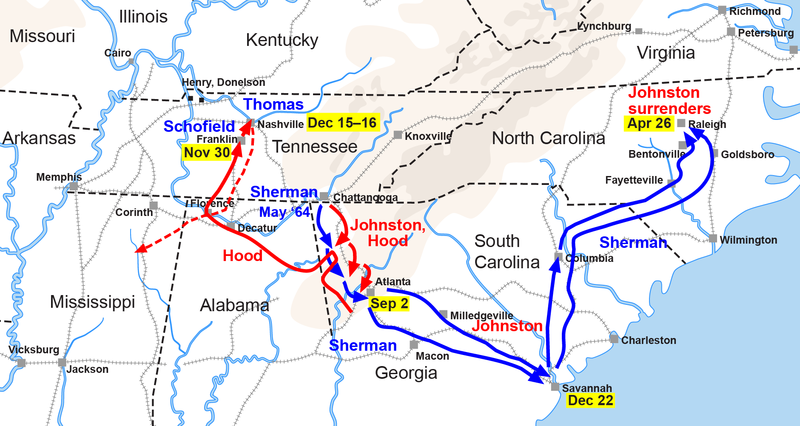 Map of Sherman's campaigns in Georgia and the Carolinas, 1864-1865 ACW Chattanooga2Carolinas.png