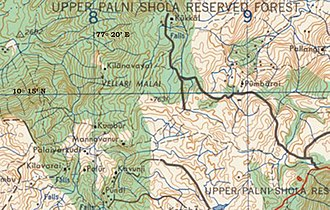 Berijam Lake - Map of Upper Palani Reserve Forest area where the elephant corridors are proposed