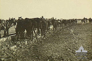 Battle of Tel el Khuweilfe - 12th Light Horse Regiment watering horses at Beersheba