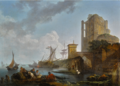 A CALM- A HARBOUR SCENE, WITH FISHERMEN RESTING NEAR RUINS.PNG