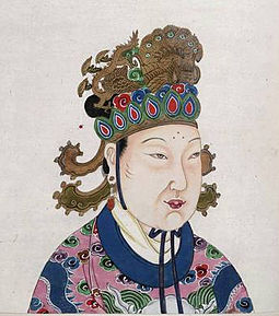 Empress Wu (Wu Zetian), the sole officially recognized empress regnant of China in more than two millennia, She first ruled through her husband and sons for almost three decades and then called herself emperor and will rule for another fifteen years. A Tang Dynasty Empress Wu Zetian.JPG