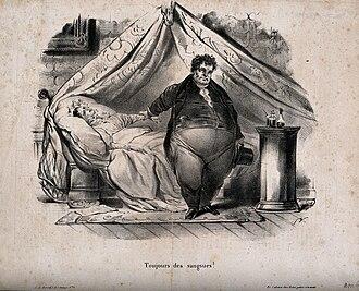 Hirudo medicinalis - A caricature of a physician prescribing leeches for a weak, bedbound woman