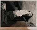 A covered corpse lying on a bed. Etching by Ch. Chaplin afte Wellcome V0042289.jpg