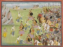 A painting from the Mahabharata Balabhadra fighting Jarasandha.jpg