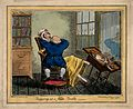 A short dentist (standing on a stool) extracting a tooth fro Wellcome V0012077.jpg