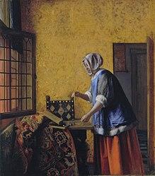 Pieter de Hooch: Interior with a Woman weighing Gold Coin