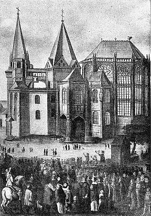 "Aachen - Presentation of the four ""Great Relics"" during the Aachen pilgrimage, after a 17th-century painting"