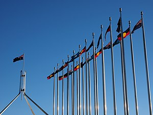 Australian Aboriginal Flag - The Australian Aboriginal, Torres Strait Islander and Australian flags being flown outside Parliament House to mark NAIDOC Week